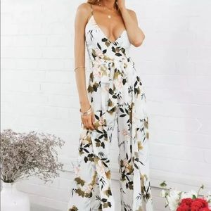 HELLO MOLLY Pool Club White Floral Jumpsuit XS